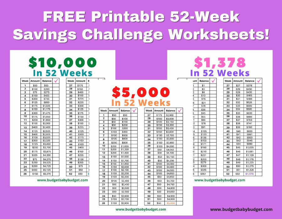 Printable 52 week savings challenge worksheets