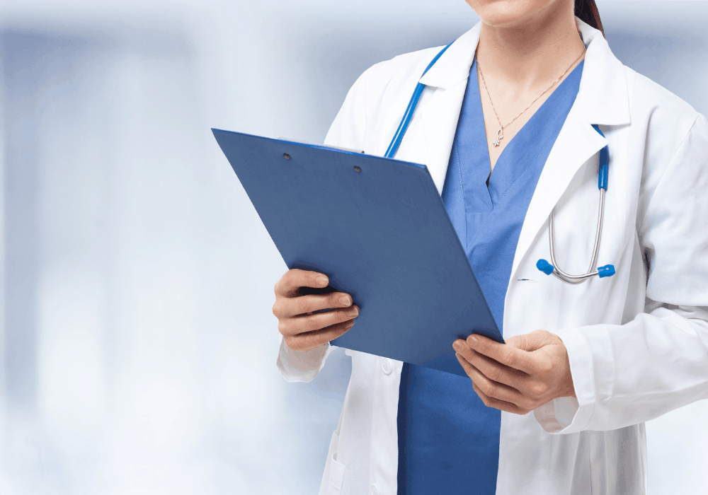 medical provider with clipboard