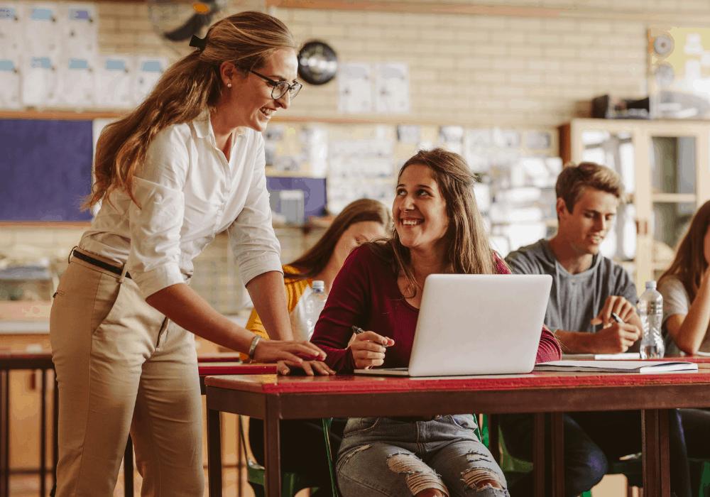female professor teaching female student